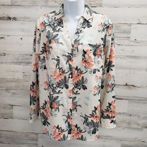 Talbots Nantucket Floral Blouse Top Large Petite